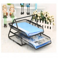 2-Tier Metal Mesh Letter Paper Document Foolscap Tray Stackable Front-load Holder Stand Organizer