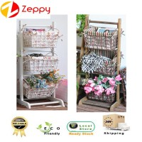 3 Layer Wooden Storage Cabinet Basket Rattan Clothes Drawer Rack