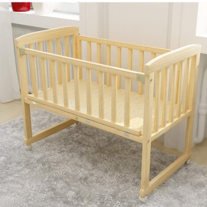 Baby Cot 2 in 1 Nontoxic Solid Wood Rocking Table Baby Bed Play Pen Cradle Katil Bayi (Natural Wood)