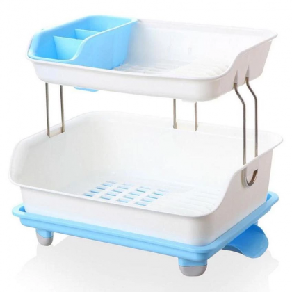 2 Tier Plastic Kitchen Water Drip Dish Drainer Drying Storage Rack Space Saver