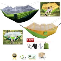 2 Person Indoor Outdoor Hammock for Backpacking Camping With Mosquito Net