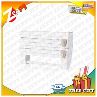 Plastic Refrigerator Storage Rack Wall Hanging Paper Towel Holder-White