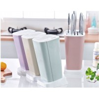 Modern Stylish Design 7-Slot Kitchen Knife Storage Block Holder (4 Colors)