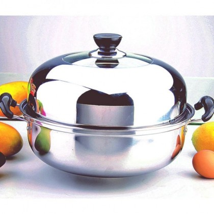 """28cm"" Non-Magnetic stainless steel thick composite bottom pot"