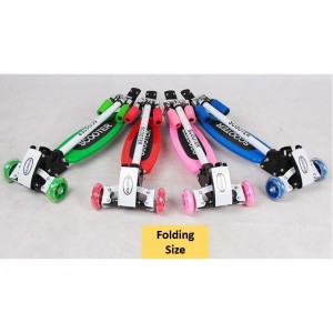 Foldable and Adjustable Flash Wheels Kid Scooter