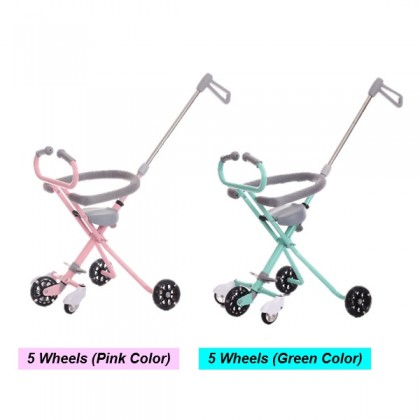 Simple Light Portable Kid Folding 3/4 and 5 Flash Wheels Stroller with Safety Ring