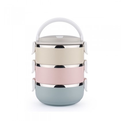 Multi-color 3 Layer Double Stainless Steel Lunch Box