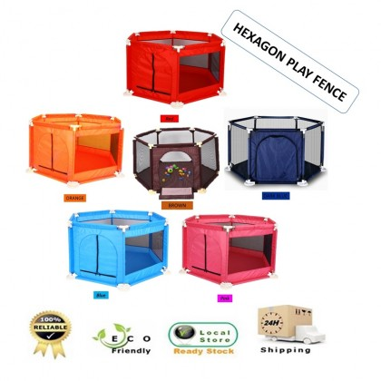 Zeppy Hexagon Foldable Playpen Playard Baby Kids Safety Play Fence Play Tent Play Ground