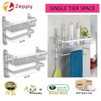 40cm / 60cm Single Tier Space Aluminium Bathroom Shelf Rack with Holder