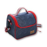 Portable Denim Heat Insulated Lunch Bag Storage Cooler Food Box