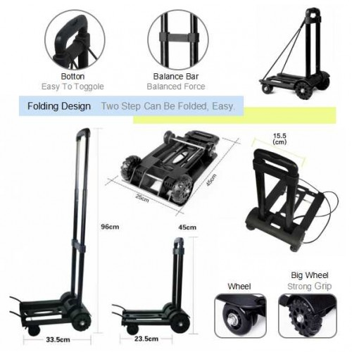 0ffed86def28 Heavy Duty 2 and 4 Wheels Folding Travel Luggage Carrier Shopping ...