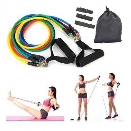 11 Pcs Exercise Resistance Bands Set Muscle Rope Fitness