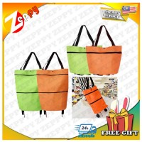 2 in 1 Portable Foldable and Expandable Grocery Shopping Trolley Bag with Wheels