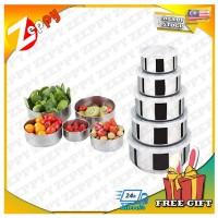 Stainless Steel Set of 5 Crisper Food Container Storage Lunch Box with Lid