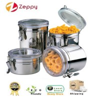 Set of 4 Stainless Steel Sealed Canister Food Storage Container