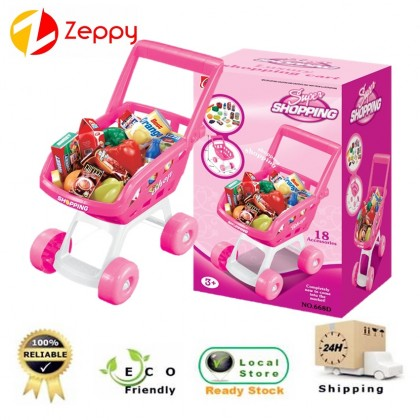 Kids Mini Supermarket Shopping Cart Grocery Trolley Pretend Play Set