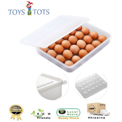 24pcs Egg Refrigerator Storage Container Organiser Box with Cover