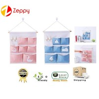 Wall Waterproof Linen Hanging Storage Bag with Pockets and Key Holders