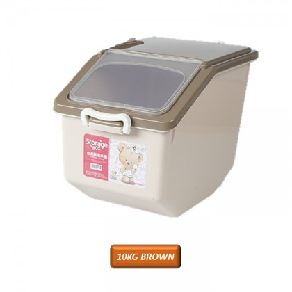 10kg 15kg Kitchen Rice Storage Bucket Rice Container Barrel with Wheel Transparent Cover Seal Dapur Stackable Anti Bug