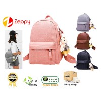 Women New Trend Bear Doll Pendant Fashion Ladies Backpack Double Strap PU Bag