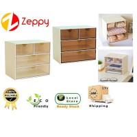 Japanese Style Home Office Transparent Desktop Storage Cabinet Box with Drawer