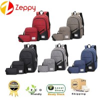 3 In 1 Korean Canvas 3 Sets Unisex Shoulder Travel Student Backpack Bag