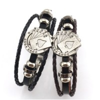 MII Men's Bracelet three-layer woven playing cards leather
