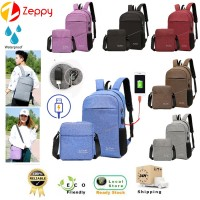 2 In 1 Unisex USB Charging Waterproof Shoulder Sling Handbag Backpack