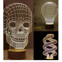Magical Optical Illusion 3D Wood Mood Lamp Micro USB Table Glowing Light Novelty
