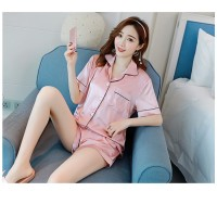 MII Short Sleeve Silk Pajamas Set Women Sleepwear Sexy Nightwear Summer Pyjamas
