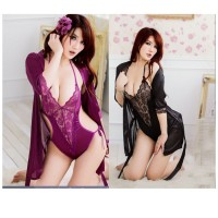 MII 1pcs Women Sexy Lingerie Sleepwear Babydoll Dress Exotic Lace Bodysuit Set