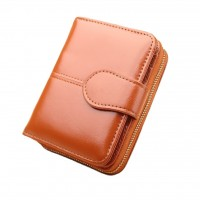 MII  Women Oil Wax Short Wallet ,PU Leather Clutch Coin Card Holder Purse