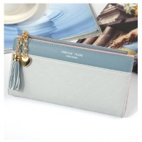 MII  Fashion PU Leather Wallets Card Holder Ladies Zipper Casual Long Purse for Women Girls