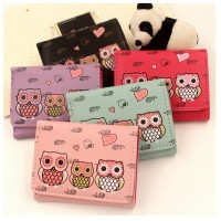 MII Cute Cartoon Owl Printed Coin Purse PU Leather Hasp Girls Wallet
