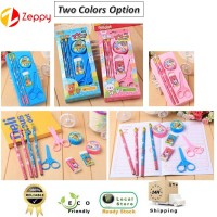 Children Kids Stationary Set with Pencil Eraser Scissor Sharpener Gift