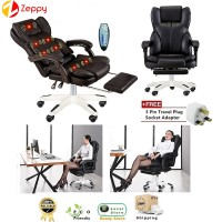 Luxury Ergonomic Office PU Leather 7 Mode Massage Leisure Backrest Lift Seat Foot Rest Chair