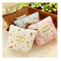 Women Korean Style Small Canvas Floral Pattern Coin Purse Wallet Bag