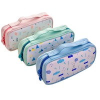 MII Children Kid Zipper Student Pencil Stationery Case Multi Compartment Pencil Box