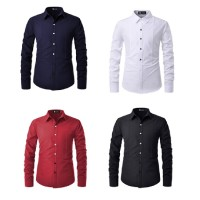 MII  Long-Sleeved Shirt Male European And American Solid Color