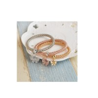 3pcs Set Women's Rhinestone Bracelet Bangle Charm Love Butterfly Pendant Jewelry
