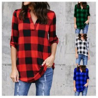 MII Long Sleeve V Neck Plaid Blouse Casual Shirt