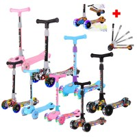 Children Foldable Height Adjustable Scooter Yo-Yo With Music LED Wheels
