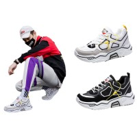 Spring and Summer New Thick-Soled Dad Shoes Breathable Mesh Sneakers Korean-Style Trendy Reflective Lace-up Men's
