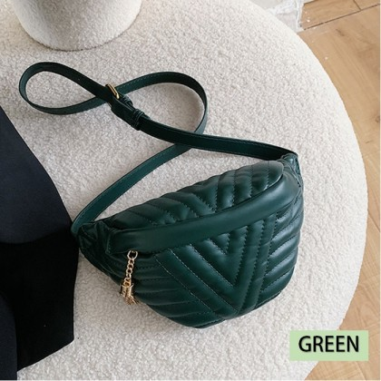 KAPEE  Female Small Bag Crossbody Shoulder Bag Chest Bag Women's Quilted with Adjustable Strap