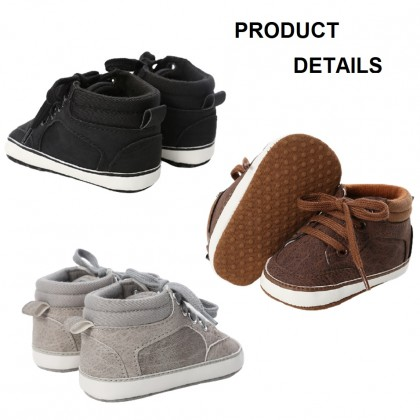 KAPEE Baby Simple Sneakers Soft Soled High-Top Ankle Infant Crib Shoes Toddler First Walkers