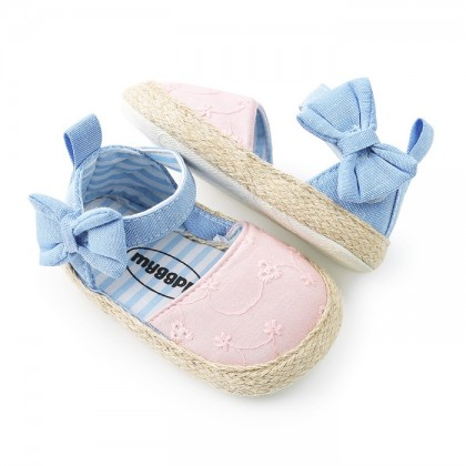KAPEE Butterfly Refreshing Soft-Soled Shoes Baby Princess Shoes Ribbon Strap Simple Shoes