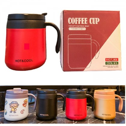 FIVE & DIME Stainless Steel Coffee Mug Cup Men s and Women Tea Office with Lid Handle Student Simple Household
