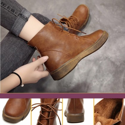 KAPEE New Woman Comfortable High Cut Boots Velvet Warm Leather Boots Flat Heel Fashionable Boots