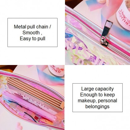 KAPEE Makeup Organizer Holographic Makeup Bags Clear Travel Toiletry Bag Cosmetic Brushes Case